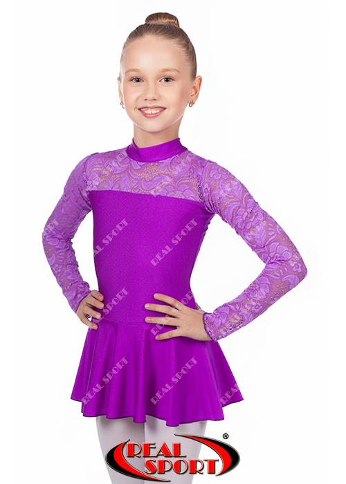 Купальник гімнастичний з спідницею, фіолетовий RS 1108