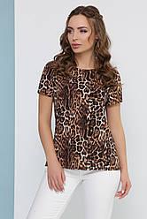 Трендовая женская летняя  блузка леопардовый принт с коротким рукавом коричневая