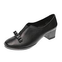 Туфли женские на устойчивом каблуке Magnolya, цвет черный, Турция 37р
