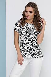 Легкая женская модная блузка с короткими рукавами леопардовый принт серая