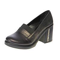 Туфли женские на устойчивом каблуке Guero, цвет чёрный, Турция 36р