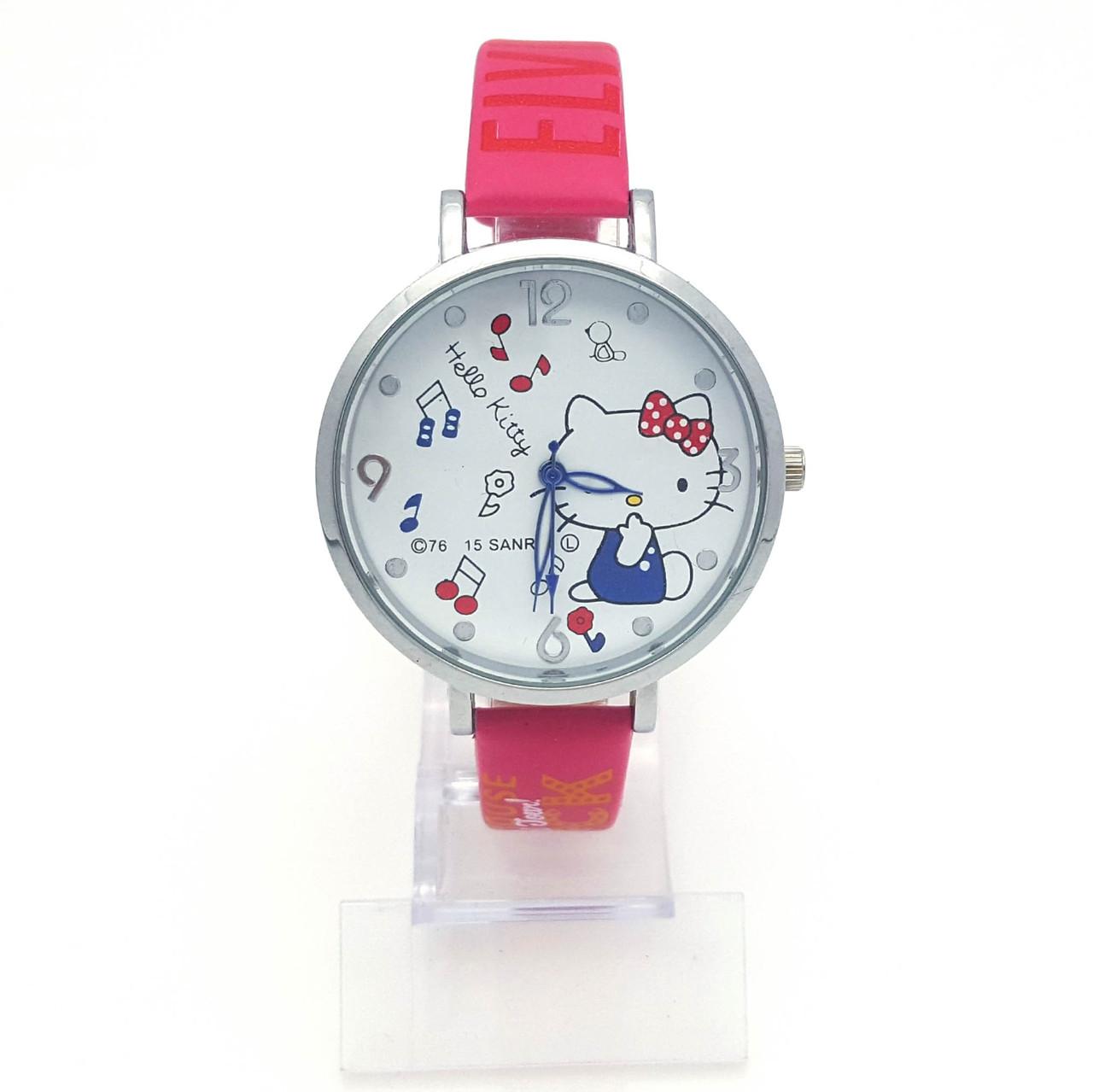 Часы на малиновом ремешке, с Котенком, длина ремешка 17-21см, циферблат 40мм