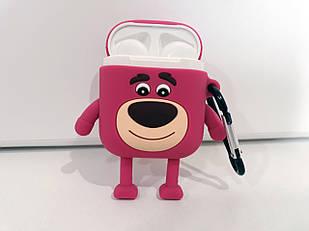 Чехол для наушников Розовый мишка AirPods Silicone Case for AirPods. Силиконовый чехол