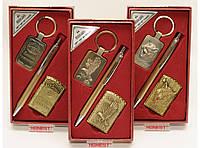PN7-2 Подарочный набор: зажигалка + ручка + брелок, Мужской набор с турбо зажигалкой, Подарок мужчине