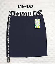 Подростковая юбка карандаш для школы синяя р. 128-140