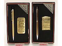 PN7-1 Подарочный набор: зажигалка + ручка, Турбо зажигалка с ручкой, Подарок сувенир для мужчины