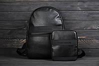 Рюкзак + барсетка комплект кожаный в стиле Calvin Klein черный
