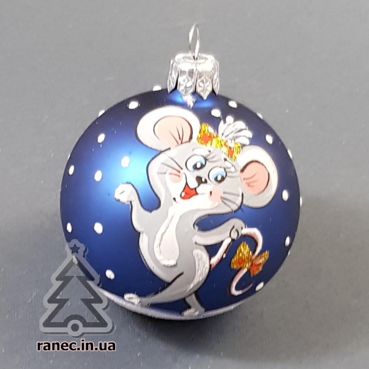 Стеклянный шар на елку с символом года 60478 диаметр 60 мм