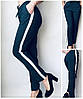 Летние женские брюки (штаны) Султанки А15 темно-синие с полоской