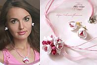 """Комплект авторских украшений с цветами """"Нежность весны"""" , фото 1"""