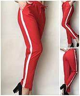 Летние женские брюки (штаны) Султанки А15 красные с полоской
