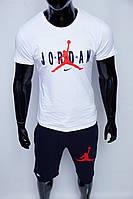Костюм футболка с шортами мужской Nike x Jordan 15979 белый с синим реплика