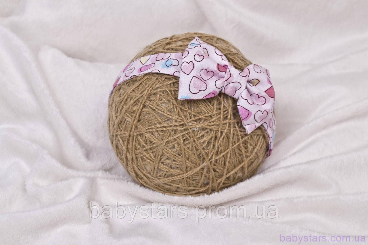 Повязки детские на голову «Бант», сердечки розовые