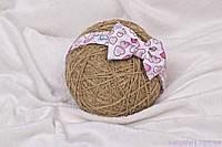 Повязки детские на голову «Бант», сердечки розовые, фото 1