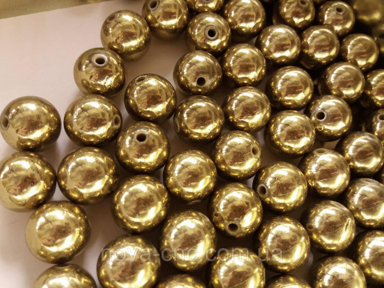"Бусины пластик ""Шар"" золото 14 мм 500 грамм"