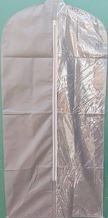 Чехол для хранения и упаковки одежды на молнии флизелиновый серого цвета. Размер 60 см*160 см., фото 2
