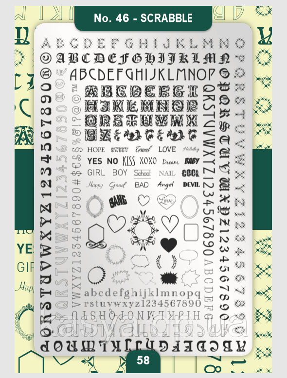 Пластина для стемпинга Moyra №46 Scrabble
