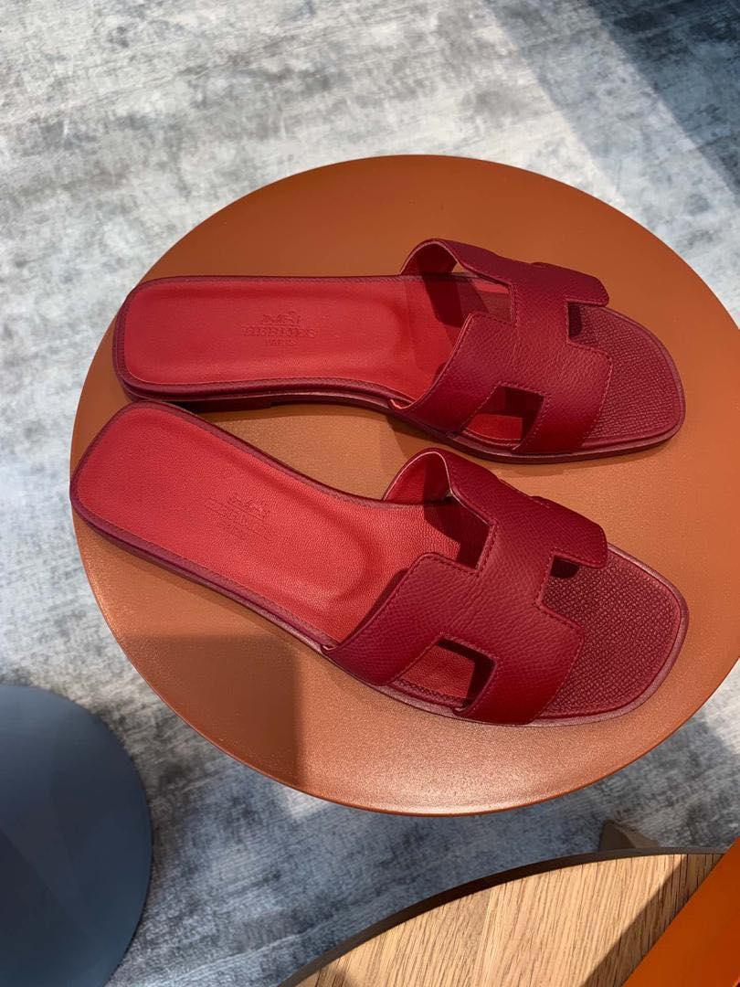 Кожаные женские шлепанцы Hermès