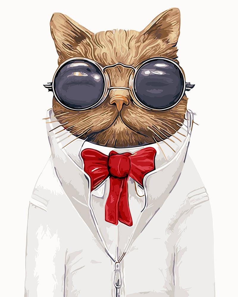 Картина по номерам Кот в очках GX9391