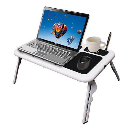 Столик для ноутбука с охлаждением Складной портативный многофункциональный столик E-Table, фото 2