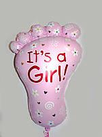 """Фольгированный нар в виде ножки для выписки из роддома """"It`s a Girl"""" надутый гелием"""