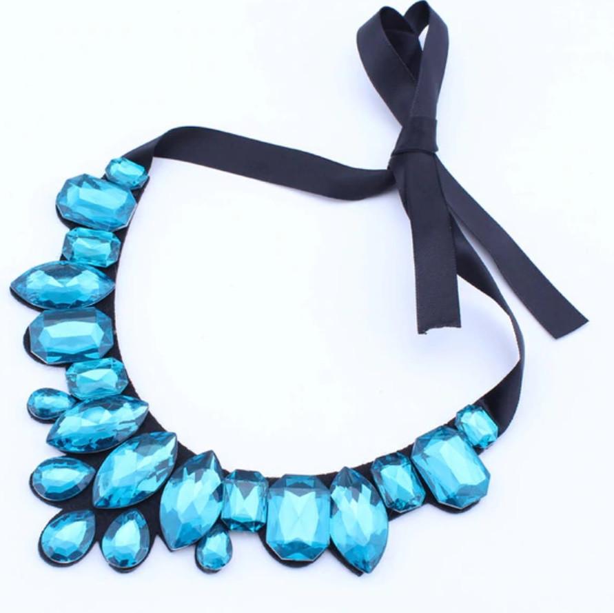 Ожерелье Стеклянные цветы Капли воды/бижутерия/цвет ленты черный/цвет искусственных камней голубой