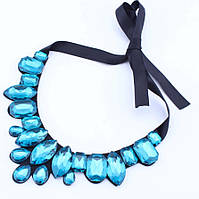 Ожерелье Стеклянные цветы Капли воды/бижутерия/цвет ленты черный/цвет искусственных камней голубой, фото 1