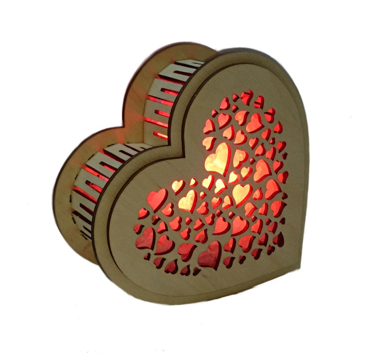 """Соляной светильник """"Сердце деревянное"""""""
