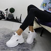 Женские белые кроссовки на высокой платформе в стиле буффало, фото 1