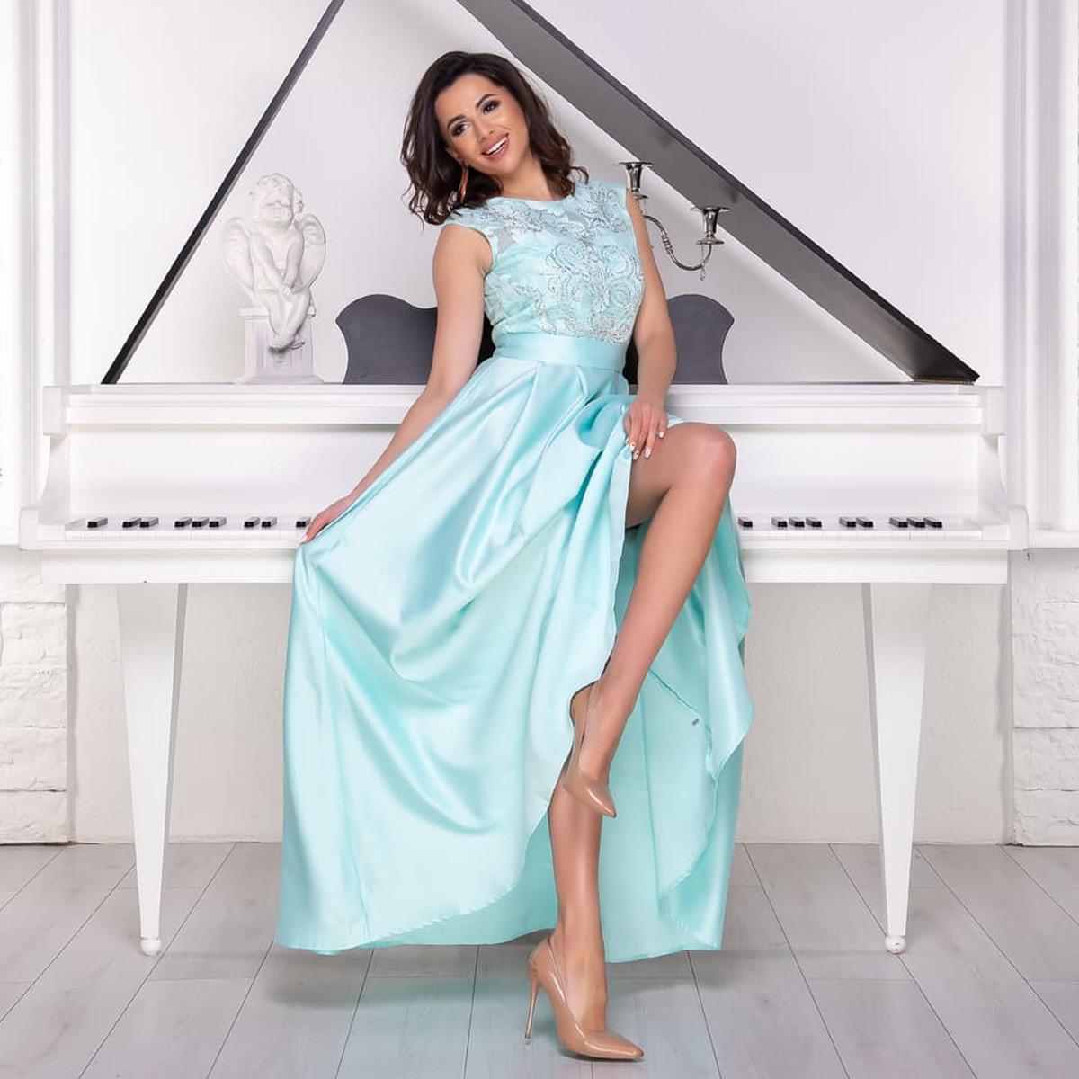 """Бирюзовое вечернее платье макси из атласа """"Поэма"""""""