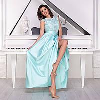 """Бірюзове випускну сукню максі з атласу """"Поема"""", фото 1"""