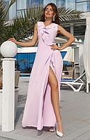 Женское платье в пол на запах с рюшами на груди