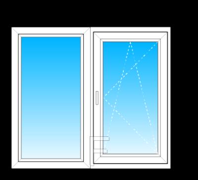 Окно Steko S500 из двух частей стеклопакет однокамерный энергосберегающий