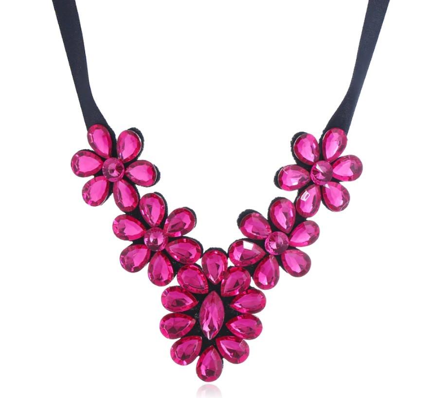 Ожерелье Стеклянные цветы Макси/бижутерия/цвет ленты черный/цвет искусственных камней розовый