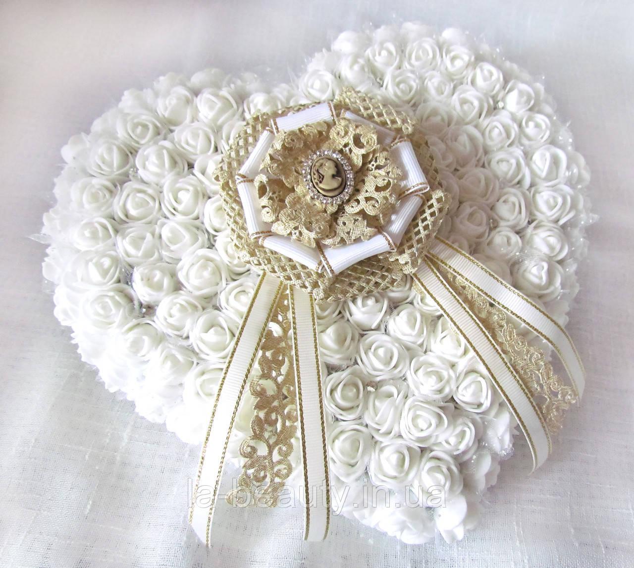 Большая свадебная подушечка для обручальных колец из роз белая винтаж LA BEAUTY Studio