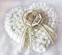 Большая свадебная подушечка для обручальных колец из роз белая винтаж LA BEAUTY Studio, фото 1