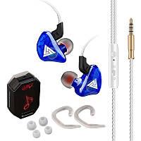 Дротові навушники QKZ CK5 Mic однодрайверные динамічні з гарнітурою Original Синій