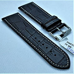 Ремінець з натуральної шкіри CONDOR 308.24.01 (24 мм) чорний шкіряний ремінець на годинник ремінець для