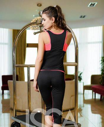 Спортивный костюм из эластика Issa Plus 1635 маечка и бриджи черный с розовым, фото 2