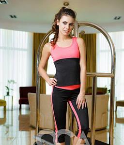 Спортивный костюм из эластика Issa Plus 1635 маечка и бриджи черный с розовым