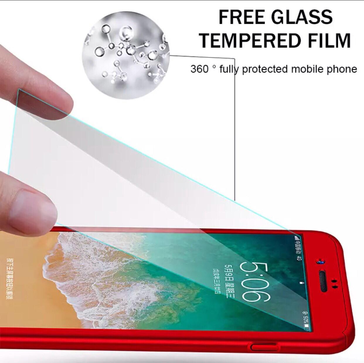 Чехол 360° на Iphone 7+ plus/Iphone 8 plus + стекло,  red