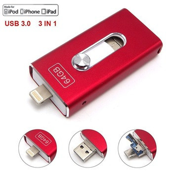 Флешка 64 Gb для Iphone/Ipad Usb flash red