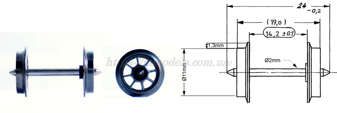 Fleishmann 00534019 Ось спицованная ( колесная пара ) размер 24х11 мм, 8 ми спицевые  / 1:87  цена за 1шт
