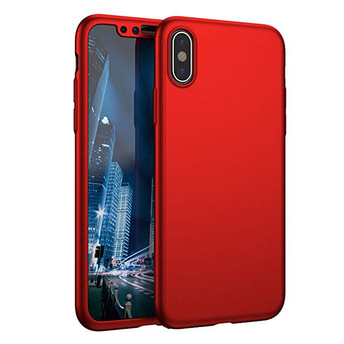 Чехол 360  для IPhone X/IPhone XS red Противоударный Ультратонкий +стекло в комплекте