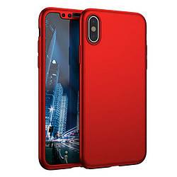 Чехол 360  для IPhone X/IPhone XS red Противоударный Ультратонкий +стекло