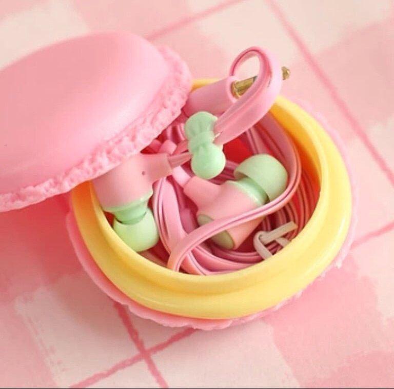 Наушники  для Iphone макаруны розовые