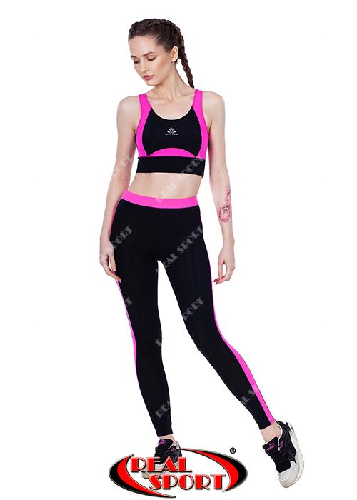 Лосины для фитнеса RSL 29, черно-розовые (бифлекс, р-р S-L)