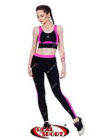 Лосины для фитнеса RSL 29, черно-розовые (бифлекс, р-р S-L), фото 1