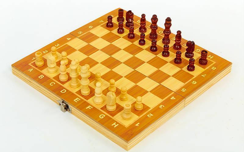 Шахматы, шашки, нарды 3 в 1 деревянные