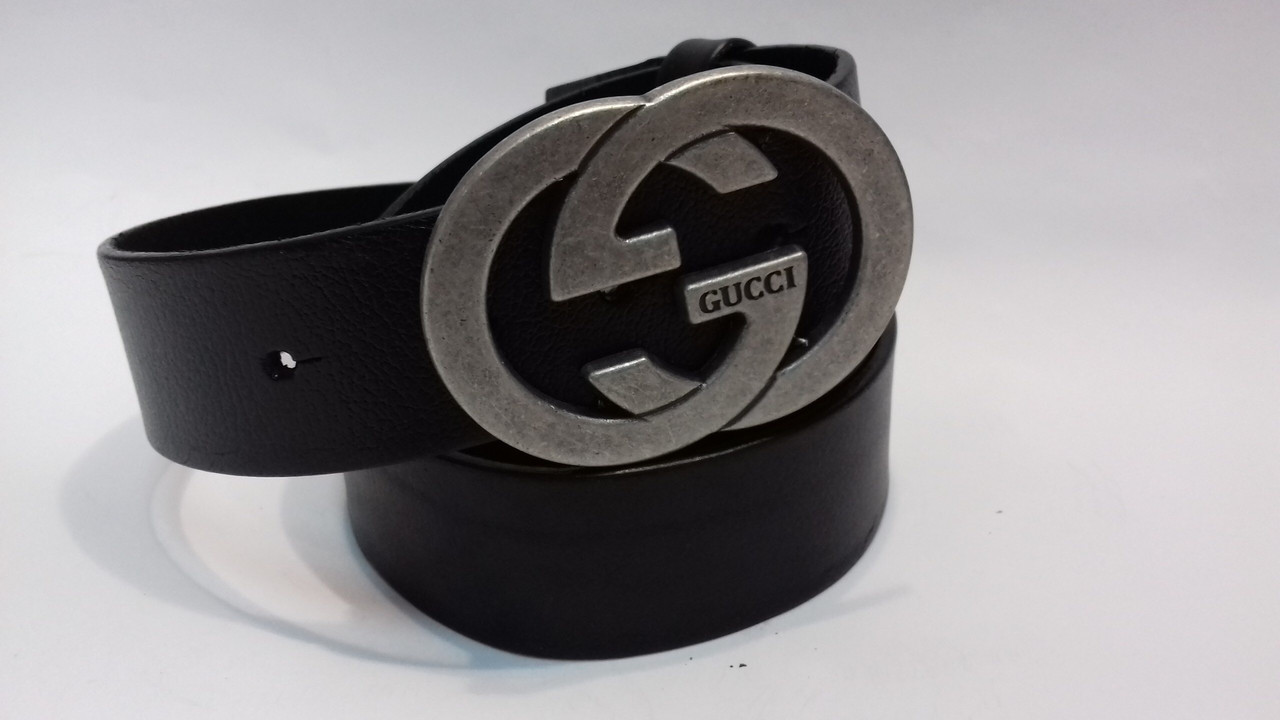 Кожаный Ремень пояс Gucci grey (реплика Гучи)